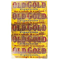 Five NOS Single Sided Old Gold Cigarettes Ad Signs