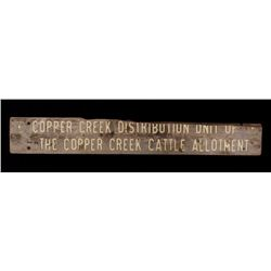 USFS Copper Creek Cattle Allotment Wooden Sign