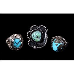 Three Navajo Sterling Silver and Turquoise Rings