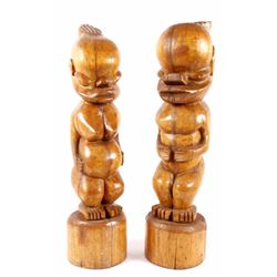 Hawaiian Koa Wood Hand Carved Fertility Figures