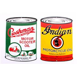 Indian & Cushman Motor Oil Porcelain Signs