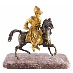 Gilded Bronze Of Man On Horseback