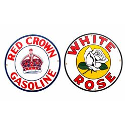 White Rose & Red Crown Porcelain Signs