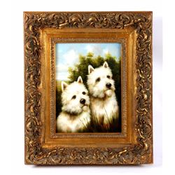 Gilded Framed Painted Portrait Of Two Westies