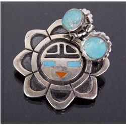 Zuni Sunface Fetish Brooch & Turquoise Earrings