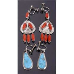 Navajo Sterling Turquoise Earrings & Coral Earring
