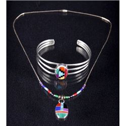 Zuni Multistone Inlayed Mosaic Necklace & Bracelet