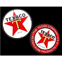 Porcelain Enamel Texaco Gasoline Advertising Sign