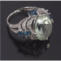 Faceted Prehnite & Blue Topaz 14k White Gold Ring