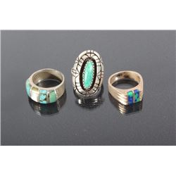 Signed Silver, Turquoise, & Mother Of Pearl Rings