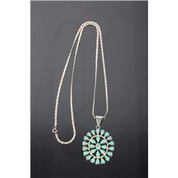 Navajo Sterling & Turquoise Petit Point Necklace