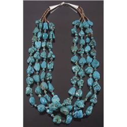 Navajo Multistrand Heshe Bead & Turquoise Necklace