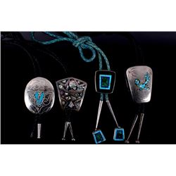 Four Native American Inlaid Mosaic Bolo Ties