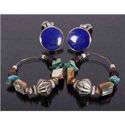 Navajo Multistone Earrings & Lapis Lazuli Earrings