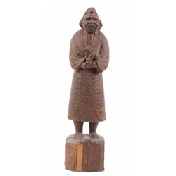 Antique Wooden Ainu Man Hand Carving
