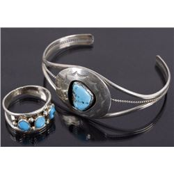 Navajo Morenci Turquoise & Sterling Cuff & Ring