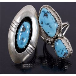 Navajo Sterling Silver & Morenci Turquoise Rings