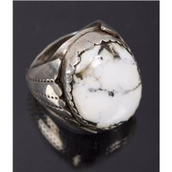 Navajo White Buffalo Turquoise & Sterling Ring