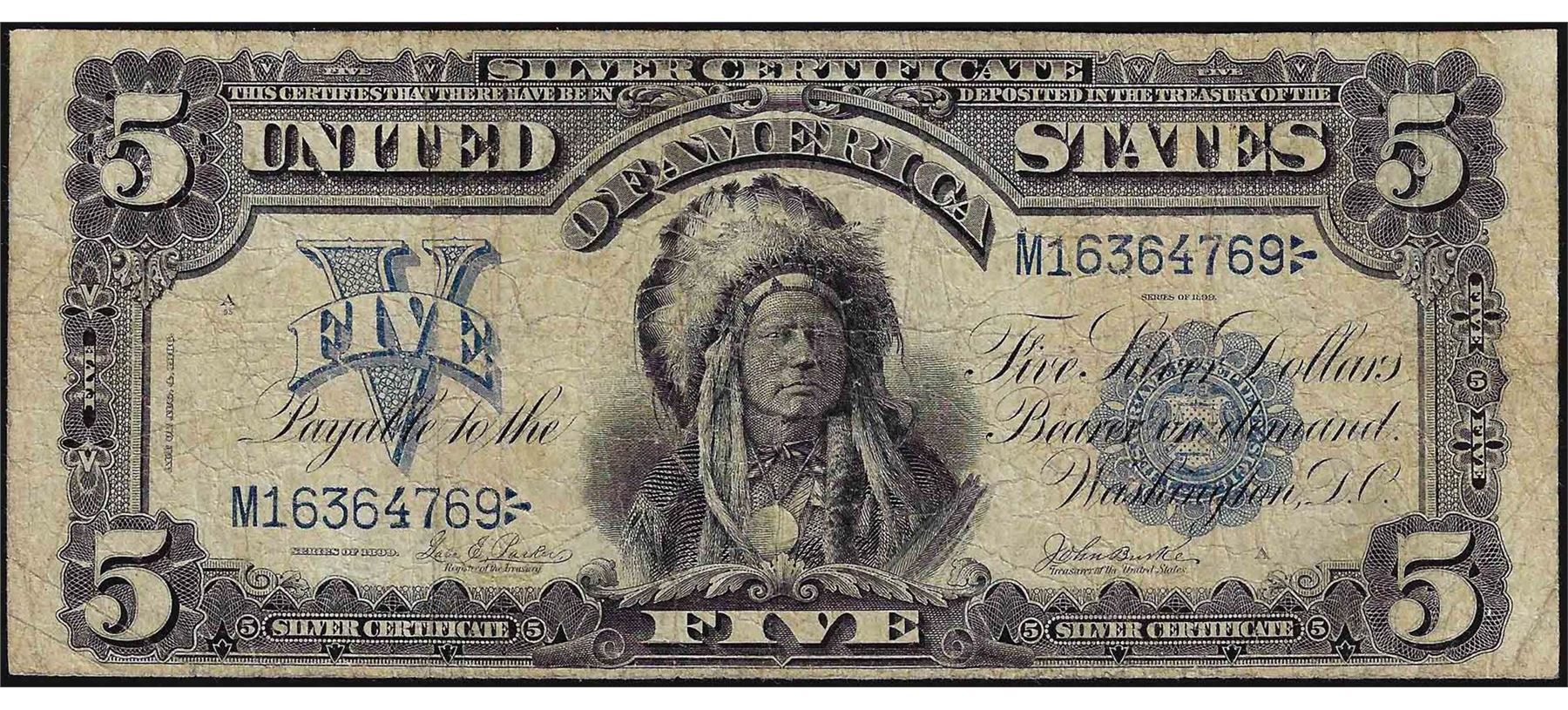 1899 5 Indian Chief Silver Certificate Bank Note