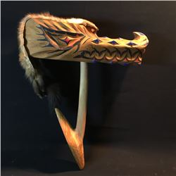 BRAD BAZILLE, HAND CARVED AND PAINTED WOLF MASK ON MOUNT, WITH PELT ACCENT PIECE, 21.5'' LONG,