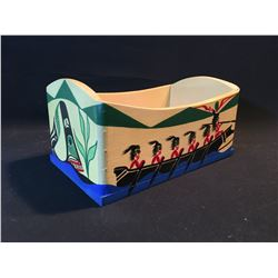 "PATRICK AMOS HAND CARVED AND PAINTED BENT WOOD BOX, FROM NUU CHAH NULTH, TITLED ""WHALERS"", SIGNED"