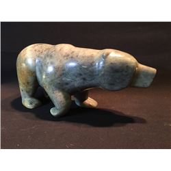 GRIZZLY BEAR SOAP STONE CARVING, BY AURELIO CAMPELLA, 14.5'' LONG
