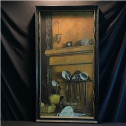 JANIS LEE, FRAMED ORIGINAL OIL ON CANVAS PAINTING OF A KITCHEN, 1999, SIGNED BY ARTIST ON LOWER