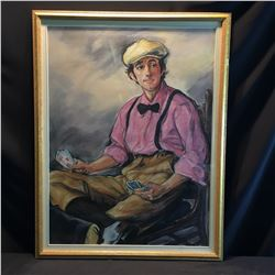 SHELDON C. SCHONEBERG FRAMED ORIGINAL PASTEL, YOUNG MALE CARD PLAYER, SIGNED  BY ARTIST ON LOWER