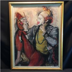SHELDON C. SCHONEBERG FRAMED ORIGINAL PASTEL, CLOWN AND PUPPETS, SIGNED  BY ARTIST ON LOWER