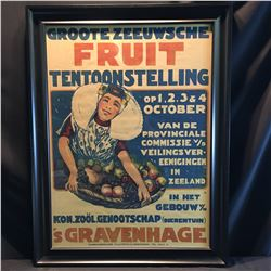 """GROOTE ZEEUWSCHE FRUIT TENTOONSTELLING"" LARGE FRAMED VINTAGE DUTCH ADVERTISING POSTER, 47 1/2'' X"