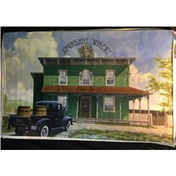 "ORIGINAL OIL ON CANVAS PAINTING, UNTITLED SCENE OF A VINTAGE PLYMOUTH TRUCK AT ""ABUNDANT WINERY"","