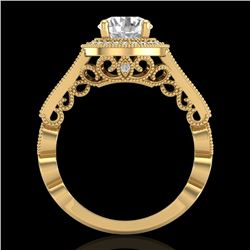 1.91 CTW VS/SI Diamond Solitaire Art Deco Ring 18K Yellow Gold - REF-543V6Y - 36976