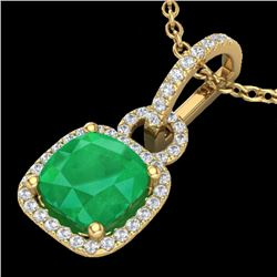 3 CTW Emerald & Micro VS/SI Diamond Certified Necklace 18K Yellow Gold - REF-70K9W - 22982