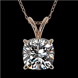 1.25 CTW Certified VS/SI Quality Cushion Cut Diamond Necklace 10K Rose Gold - REF-423N3A - 33218