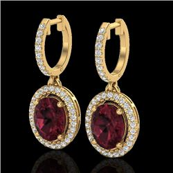 3.75 CTW Garnet & Micro Pave VS/SI Diamond Earrings Solitaire Halo 18K Yellow Gold - REF-100R2K - 20