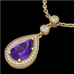 2.25 CTW Amethyst & Micro Pave VS/SI Diamond Necklace Designer 18K Yellow Gold - REF-50R2K - 23129