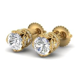 1.85 CTW VS/SI Diamond Solitaire Art Deco Stud Earrings 18K Yellow Gold - REF-261H8M - 36859