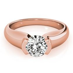 1 CTW Certified VS/SI Diamond Solitaire Wedding Ring 18K Rose Gold - REF-331F4N - 27805