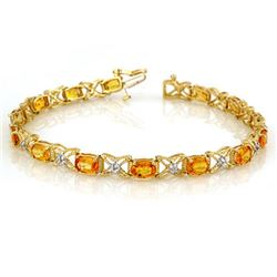 10.15 CTW Yellow Sapphire & Diamond Bracelet 14K Yellow Gold - REF-92R7K - 10917