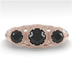 1.0 CTW Past Present Future Black Diamond Ring 18K Rose Gold - REF-81A3V - 36059