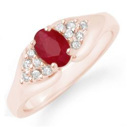 0.83 CTW Ruby & Diamond Ring 14K Rose Gold - REF-38W2H - 12920