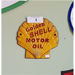 CAST IRON GOLDEN SHELL MOTOR OIL PLAQUE