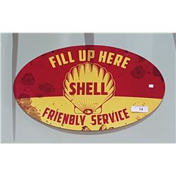 SHELL FRIENDLY SERVICE DOUBLE SIDED TIN FLANGE SIGN