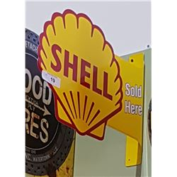 SHELL SOLD HERE DOUBLE SIDED TIN FLANGE SIGN