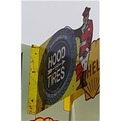 HOOD TIRES DOUBLE SIDED TIN FLANGE SIGN
