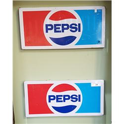 TWO ORIGINAL VINTAGE PEPSI SIGNS