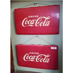 PAIR ORIGINAL VINTAGE DRINK COCA COLA SIGNS