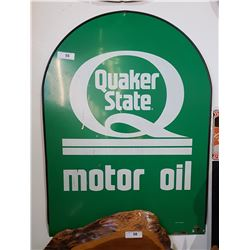 QUAKER STATE MOTOR OIL DOUBLE SIDED TOMBSTONE SIGN