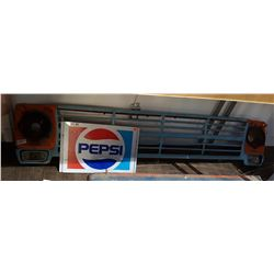 TWO PCS-VINTAGE PEPSI SIGN & FORD TRUCK GRILL