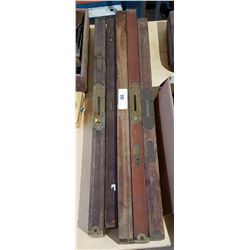 LOT OF 5 ANTIQUE WOODEN LEVELS